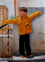 Vishalandra Dakur | Oil Painting title Boy Playing on Canvas | Artist Vishalandra Dakur Gallery | ArtZolo.com