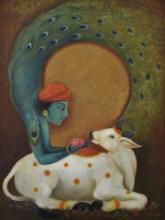 Religious Mixed-media Art Painting title Krishna by artist Durshit Bhaskar