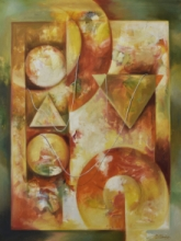 Abstract Mixed-media Art Painting title Attachment by artist Durshit Bhaskar