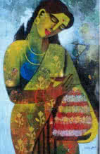 Figurative Acrylic Art Painting title 'Bathukamma' by artist Appam Raghavendra