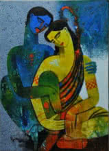 Appam Raghavendra | Acrylic Painting title Couple I on Canvas | Artist Appam Raghavendra Gallery | ArtZolo.com