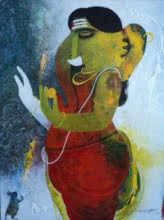Religious Acrylic Art Painting title 'Ganapati' by artist Appam Raghavendra