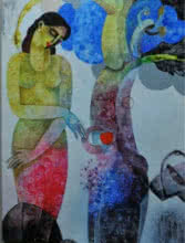 Nature With Woman II | Painting by artist Appam Raghavendra | acrylic | Canvas