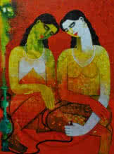 Appam Raghavendra | Acrylic Painting title Twins on Canvas | Artist Appam Raghavendra Gallery | ArtZolo.com