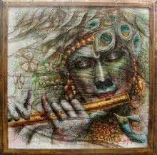 Religious Oil Art Painting title 'Krishna' by artist Darshan Sharma