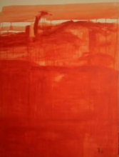 Prakash Bal Joshi | Oil Painting title Drip Orange Abstract on Canvas | Artist Prakash Bal Joshi Gallery | ArtZolo.com