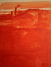 Drip Orange Abstract | Painting by artist Prakash Bal Joshi | oil | Canvas