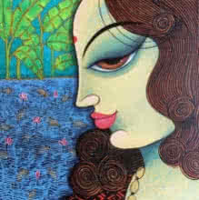 Portrait Acrylic Art Painting title 'Beauty 2' by artist Varsha Kharatamal