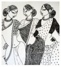 Three Women | Drawing by artist Varsha Kharatamal |  | Ink | Paper
