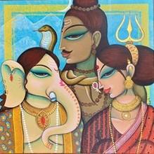 Religious Acrylic Art Painting title Family by artist Varsha Kharatamal