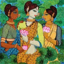 Figurative Acrylic Art Painting title 'Friends And Lotus' by artist Varsha Kharatamal