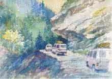 Mountain Road | Painting by artist Sankara Babu | watercolor | Paper