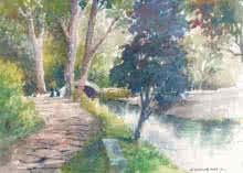 Walk By The Stream | Painting by artist Sankara Babu | watercolor | Paper