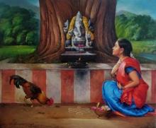 Religious Oil Art Painting title Devotee 4 by artist S Elayaraja