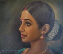 Figurative Oil Art Painting title Indian Women by artist S Elayaraja