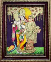 Traditional Indian art title Radha Krishna Tanjore Painting 10 on Plywood - Tanjore Paintings