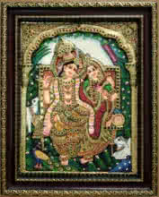Traditional Indian art title Radha Krishna Tanjore Painting 9 on Plywood - Tanjore Paintings