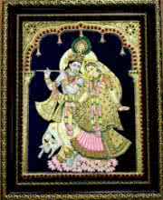VANI VIJAY | Tanjore Traditional art title Radha Krishna With Cow Tanjore Painting on Plywood | Artist VANI VIJAY Gallery | ArtZolo.com