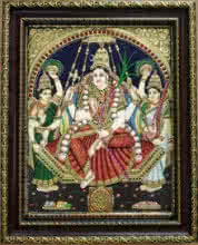 Traditional Indian art title Rajarajeshwari Tanjore Painting 2 on Plywood - Tanjore Paintings