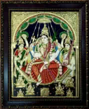 Traditional Indian art title Rajarajeshwari Tanjore Painting 3 on Plywood - Tanjore Paintings