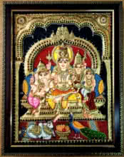 Traditional Indian art title Shiva Family Tanjore Painting 4 on Plywood - Tanjore Paintings
