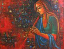 Figurative Oil Art Painting title 'Joy Of Life' by artist Vijaya Ved