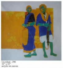 Tailor Srinivas | Acrylic Painting title Tiff Between Couple on Canvas | Artist Tailor Srinivas Gallery | ArtZolo.com