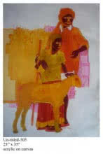 Figurative Acrylic Art Painting title 'Man And Daughter' by artist Tailor Srinivas