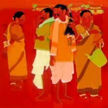 Tailor Srinivas | Acrylic Painting title Greet on Canvas | Artist Tailor Srinivas Gallery | ArtZolo.com