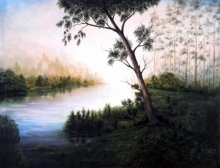 Morning Raga | Painting by artist Seby Augustine | acrylic | Canvas