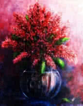 Still-life Acrylic Art Painting title The Red Flowers by artist Seby Augustine