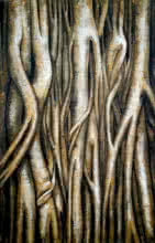 Roots Of Nirvana | Painting by artist Seby Augustine | acrylic | Canvas