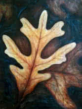 Seby Augustine | Acrylic Painting title Floating Leaves on Canvas | Artist Seby Augustine Gallery | ArtZolo.com