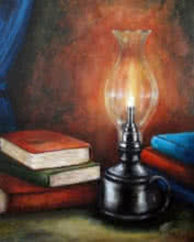Still-life Acrylic Art Painting title 'Knowledge' by artist Seby Augustine