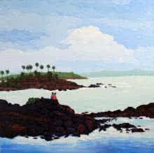 Landscape Oil Art Painting title Seashore by artist Tushar Patange