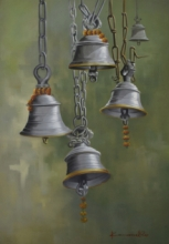 Religious Oil Art Painting title Temple Bells by artist Kamal Rao