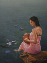 Figurative Oil Art Painting title 'Lotus' by artist Kamal Rao