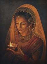 Figurative Oil Art Painting title 'Grace' by artist Kamal Rao