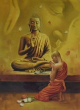 Religious Oil Art Painting title 'Monk and the Master' by artist Kamal Rao