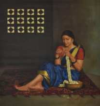 Figurative Oil Art Painting title 'Absorption' by artist Kamal Rao