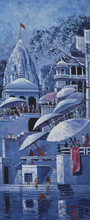 banaras ghat,varanasi ghat,india,religion,spiritual,monocolour,liberation,culture,hinduism,kamal rao,varanasi,benaras,belief,oil on canvas,ganga,ganges,riv