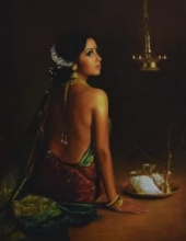 kamal rao,oil on canvas,indian art,india,lady,pooja,diya,gajra,prayer,devotion,devotional,