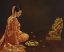 ganesha,ganesh,lord,god,india,murti,statue,devotion,prayer,lady,kamal rao,artist,hindu,hinduisim,indian,india,garland,jewellery,orange,wish,spiritual