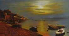 banaras ghat,benaras,varanasi,sunrise,sunset,ganga,ganges,kashi,aarti,agni arti,boats,ghat,river,sun,monuments,kamal rao,oil on canvas