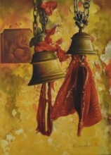 Temple Bells | Painting by artist Kamal Rao | oil | Canvas