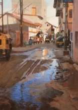 Road Replaction | Painting by artist Sachin Sawant | oil | Canvas