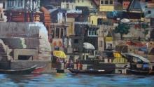 Cityscape Oil Art Painting title Banaras by artist Sachin Sawant
