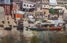 Banaras Ghat | Painting by artist Sachin Sawant | oil | Canvas