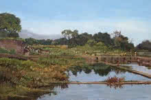 Landscape Oil Art Painting title 'Reflection' by artist Sachin Sawant