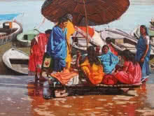 Landscape Oil Art Painting title Women In Boat Banaras Ghat by artist Sachin Sawant
